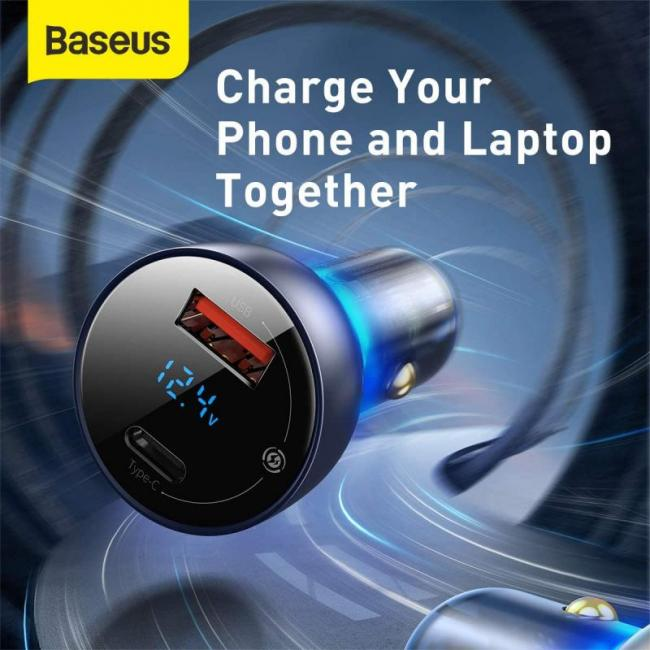 Baseus car charger USB / USB Type C 65 W 5 A SCP Quick Charge 4.0+ Power