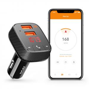 Anker Roav SmartCharge F2 Bluetooth FM Transmitter, Wireless Audio Adapter and Receiver, Car Charger with Bluetooth, Car Locator, App Support, 2 USB Ports, PowerIQ