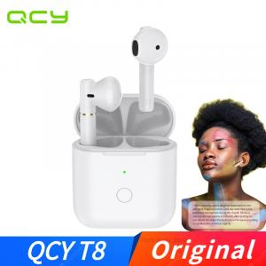QCY T8 TWS Wireless Earbuds bluetooth 5.0 Earphone Semi-in-ear HiFi Stereo ENC Noise Reduction Touch Control Type-C Headphone with Mic