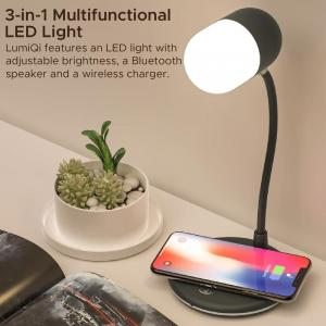 Sight Sensitive LED Table Lamp with Wireless Speaker and Wireless Charger