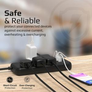 Outlet Surge Protected Power Strip with 20W Power Delivery- 4m