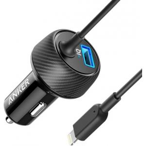 Anker PowerDrive 2 Elite Car Charger, with 3-Feet Lightning Connector and USB Port with PowerIQ Technology