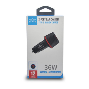 BRAVE 2 PORT CAR CHARGER TYPE- C QUICK CHARGE 36W