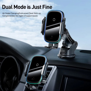 Baseus Qi Car Wireless Charger for iPhone Samsung Xiaomi -15W Induction Car Mount Fast Wireless Charging with Car Phone Holder