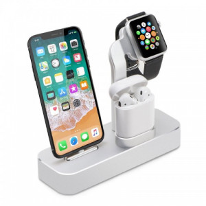 COTEetCI 3 In 1 Aluminum Charging Dock For Apple Airpods , IWatch And IPhones - Silver