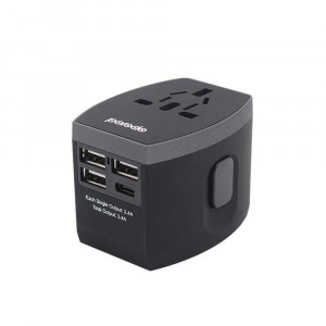 Porodo 3 USB + 1 Type-C Port Universal Travel Adapter 3.4A - Black