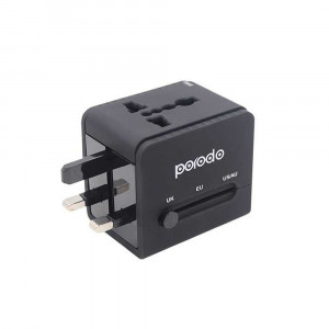 Porodo Dual USB Port Universal Travel Adapter 2.4A - Black