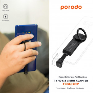 Porodo Type-C and 3.5mm Adapter with Finger Grip 2A - Black