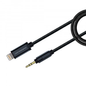 Powerology Aluminum Braided Lightning to 3.5mm AUX Cable 1.2M