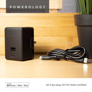 Powerology Dual Port Wall Charger 30W USB 2.4A + PD 18W with Type-C to Mfi Lighting Cable 1.2M