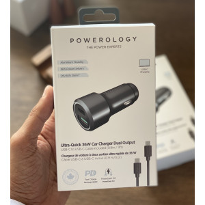 Powerology Ultra-Quick 36W Car Charger USB-C to USB-C Cable Included (0.9m /3ft)
