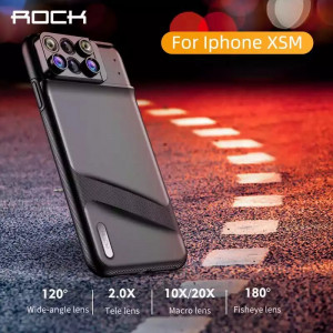 ROCK Lens Phone Case for iPhone XS Max Fisheye Wide Angle Macro Lens Telephoto Macro Lens 6 in 1 Lenses TPU Cover Full Coverage